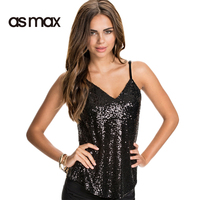 Asmax Sexy Solid Black Sequin Vest Women Sleeveless V Neck Female Adjustable Straps Tanks Top Slim