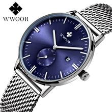 Resistencia Al agua WWOOR Relojes de Caballero de Marca Reloj de Cuarzo Reloj de Vestir de Negocios de Los Hombres Azul Dial Reloj de Los Hombres relogio masculino