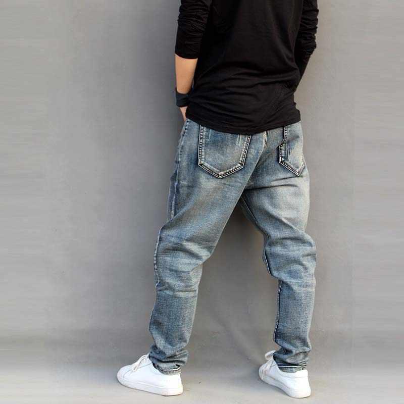 3831fb3b9c3 ... Новые модные джинсы мужские свободные шаровары слегка стрейч большие  размеры скейтборд мешковатые мужские Trousres хлопок