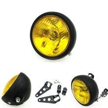 Motorcycle Headlight Chrome Yellow Cafe Racer Headlight Decorative Protective Metal Lighting Modified Motorbike Rear Light