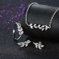 SILVERHOO New 925 Sterling Silver Olive Branch Set CZ Pendant Necklace Earrings Ring Jewelry Set for Women girls Wedding gift