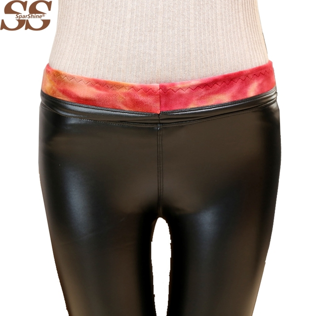 2017 Sexy Women Warm Leggings Plus Size Velvet High Waist Stretch Faux Leather Black Slim Classic Fashion Leggings Pants