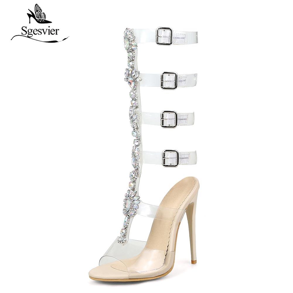 Gladiador Sgesvier negro Plus Sandalias Botas Tacones Las Mujeres Stiletto  Tamaño Zapatos Altos Recortes Para Apricot B106 Mujer Fiesta De Sexy ... 737215b41d04