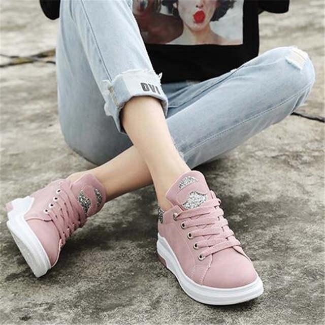 4bce1f36e Mulheres da moda Sapatos Casuais Mulheres Sapatos Tenis Feminino Sapatos  Plataforma Solas Confortáveis Para 2018 Durante