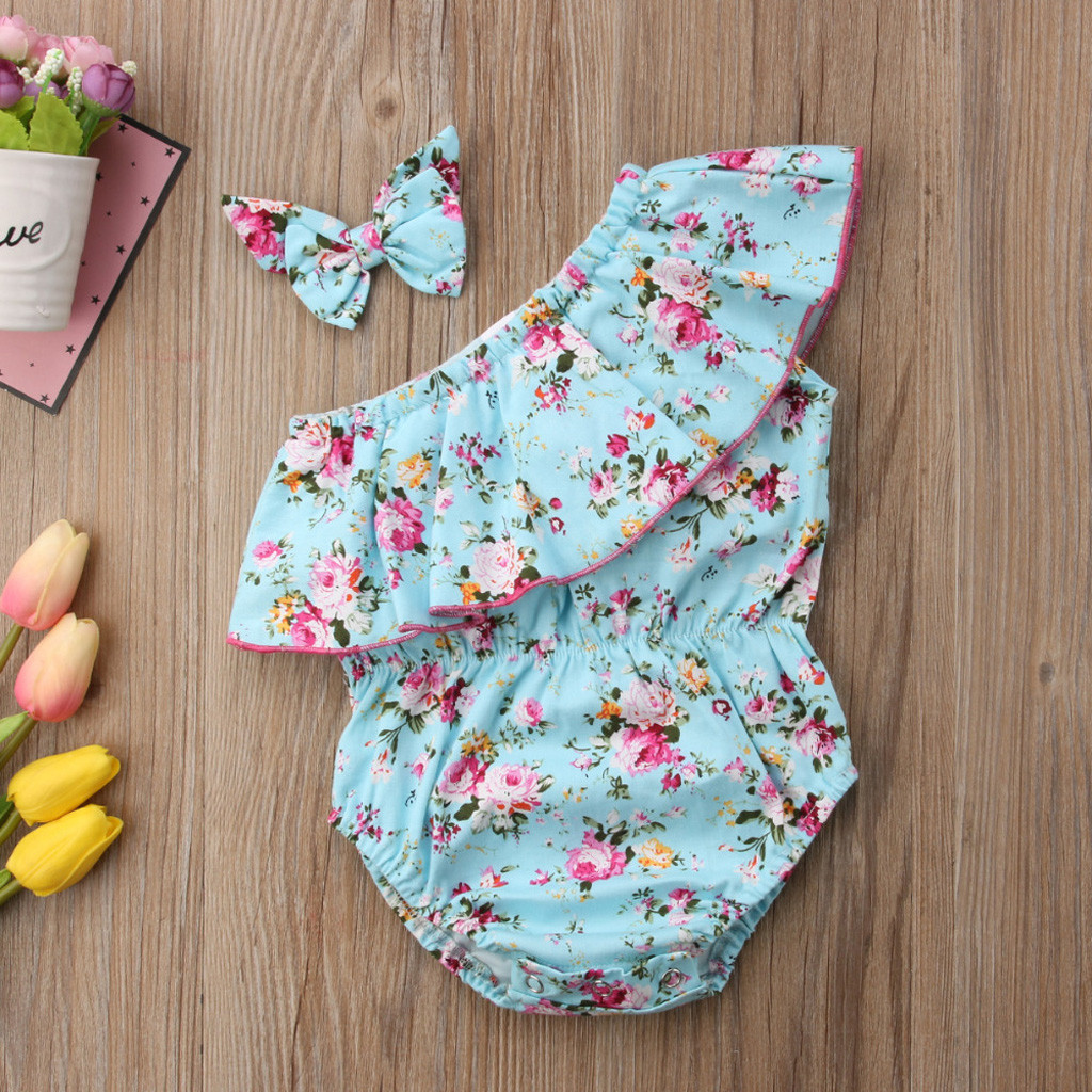 MUQGEW New Baby Girl Clothes Toddler Kids Baby Girls Sleeveless Floral Off Shoulder Hairband Rompers Dropshipping Roupa Infantil