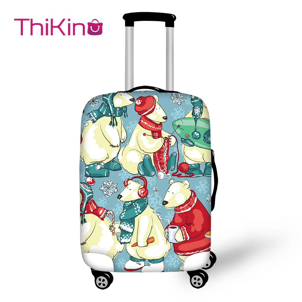 Thikin Cartoon Animals Travel Luggage Cover For Teens Cartoon School Trunk Suitcase Protective Cover Travel Bag Protector Jacket
