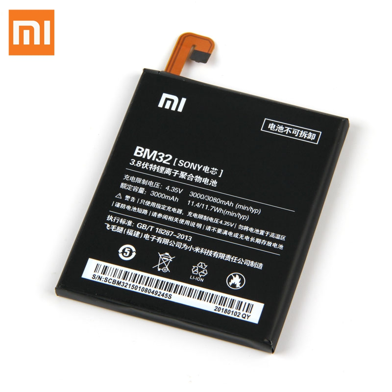 Original Replacement Battery For Xiaomi Mi 4 M4 Mi4 BM32 Genuine Phone Battery 3080mAh in Mobile Phone Batteries from Cellphones Telecommunications