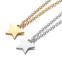 2019 316L Stainless Steel High Polished Star with Loop Charm Pendant Necklace for Women Men Long Chain Collar Jewelry