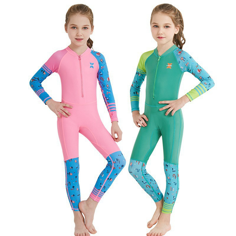 Girls Boys One Piece Long-sleeve Surfing Suit Sun UV Protection UPF50+ Full Wetsuit Swimsuit Quick-drying Dive Skin