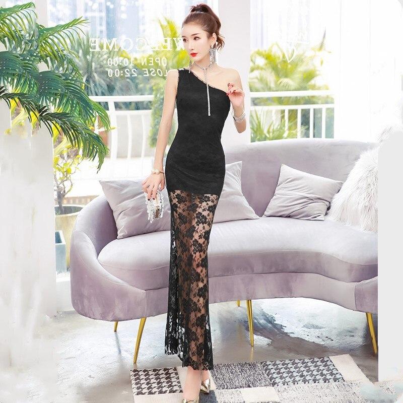 Oportunidad Real de temperamento Delgado bolsa de la cadera vestido Verano de 2019 nueva moda sexy un hombro vestido de encaje - 6