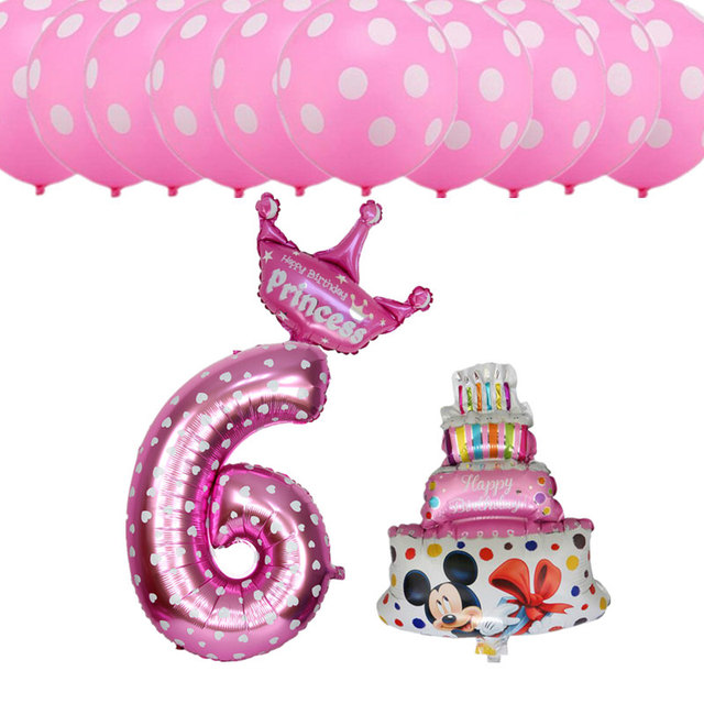 13pcs Set Happy Birthday Party Decoration Balloons Girls Boys 6 Years Old Digital Foil