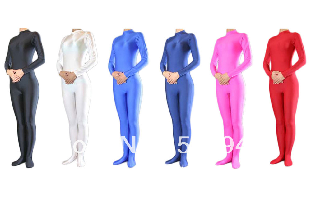 Free Shipping DHL Wholesale Unitard Solid Color Spandex Lycra Catsuit font b Women b font Unitard