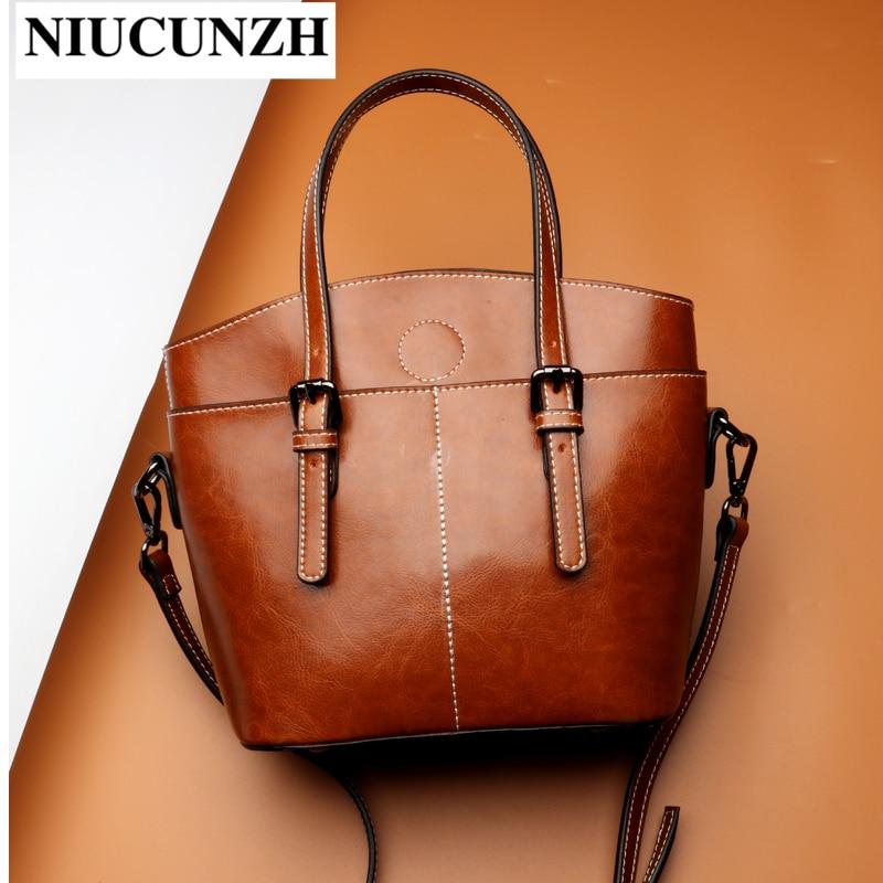 NIUCUNZH Luxury Shoulder Women's Bag Designer Genuine Leather Vintage Crossbody Female Fashion Bags With Top-Handle Lady Tote