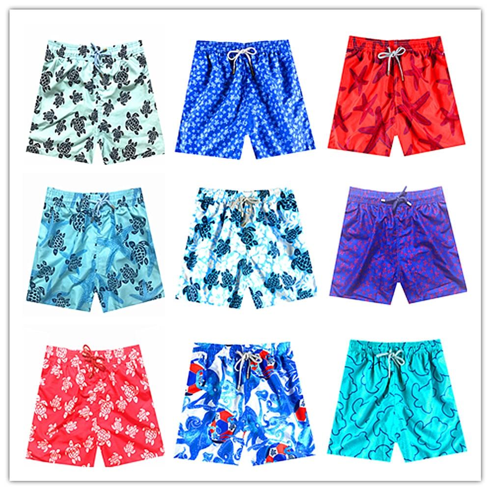 Summer 2019 Brand Vilebre Beach Board Shorts Bermuda Swimwear Men 100% Quick Dry Bermuda Adults Boardshorts Turtle Male Swimsuit