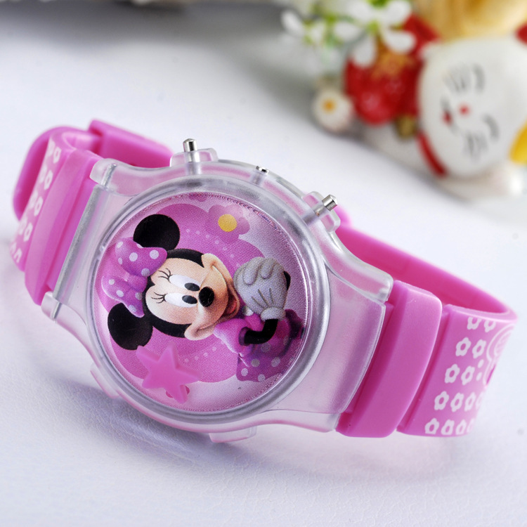 Dropshipping New Fashion Boys Girls Watches Kids Minnie Cartoon Silicone Digital Women Watch For Children Christmas Gift