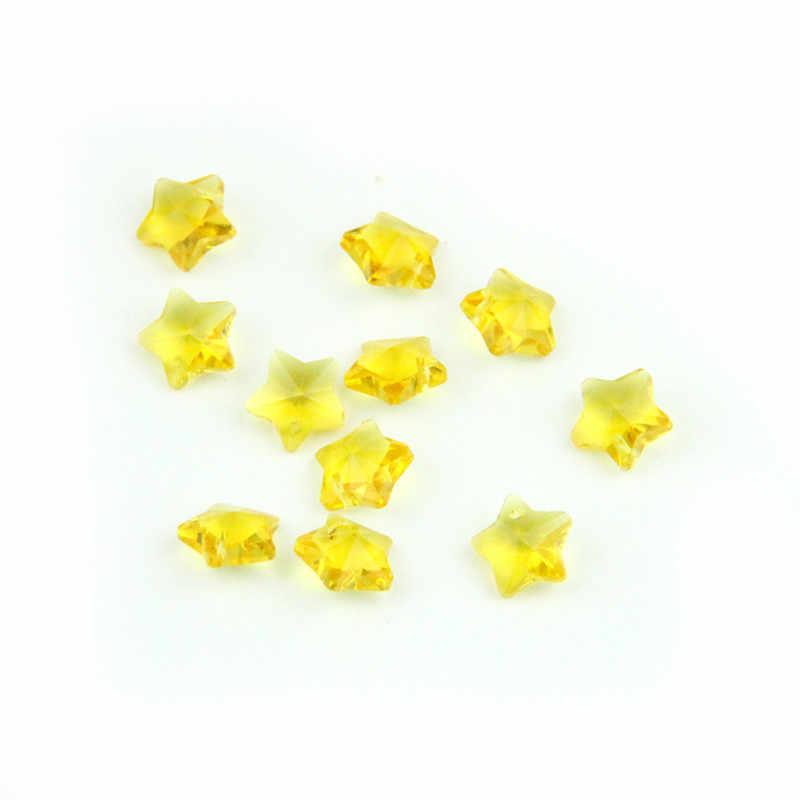 สีเหลือง 1000pc14mm คริสตัลลูกปัด Diy ลูกปัด One Hole, งานแต่งงานเค้กตกแต่ง Garland Strand จี้ประดับต้นไม้