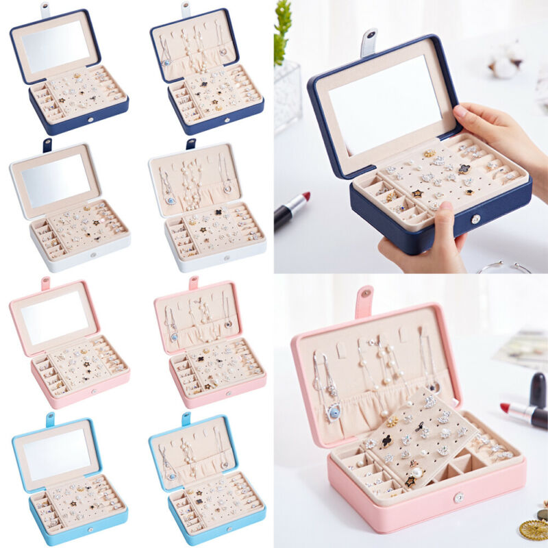 NoEnName Fashion Multifunction Jewelry Organization Box Velvet Ring Box Tray Storage Ring Display Engagement Wedding Case Holder