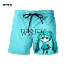 WSFK шорты мужские men's casual shorts suit anime 3D hatsune print shorts summer beach shorts