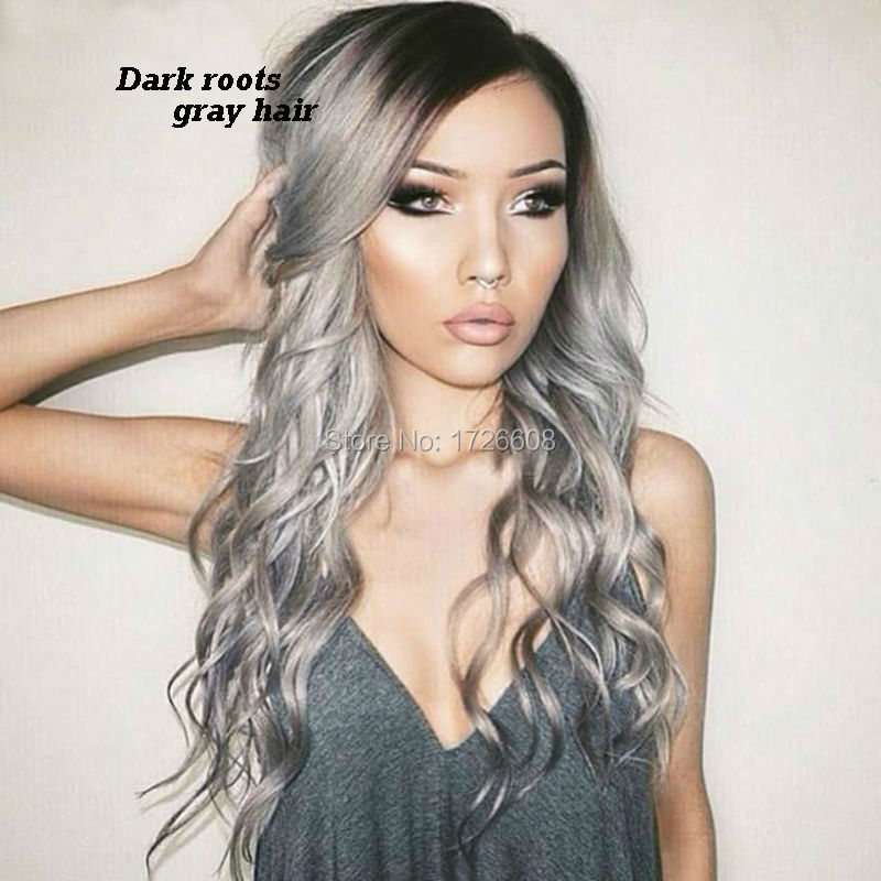 Hot Sale Ombre Silver Grey Hair Wigs Lace Front Gray Hair Wig With