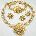 Oro de la manera Plateado 2016 Hecho A Mano de la Boda Nigeriano Beads Africanos Joyería Conjunto Bolas de Cristal Collar de La Joyería