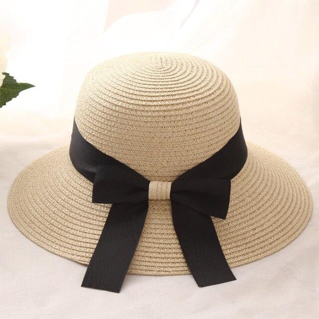 ff3ed3f9bba 2018 New Women Wide small Brim Floppy Summer Beach Sun Hat Straw Bowknot  ribbon Hat Women Outdoor Anti-uv Visor Cap Female hats