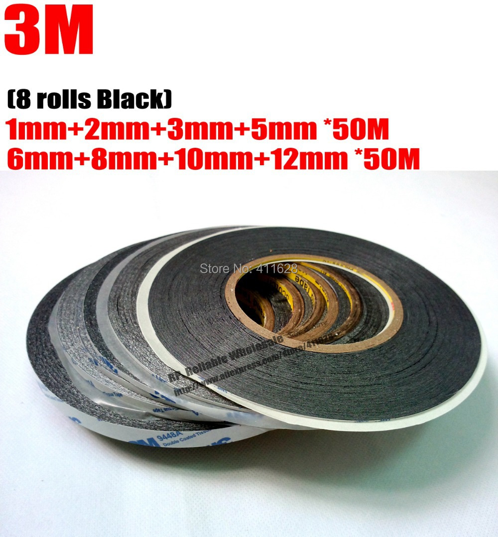 Mixed 8pcs1mm/2mm/3mm/5mm/6mm/8mm/10mm/12mm*50 Meters Black 3M Double-Sided Adhesive Tape Sticky LCD Touch Screen Glass Assemble