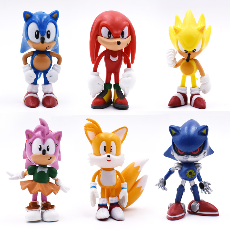 6 pcs/set Anime Sonic Tails Amy Rose Knuckles PVC Action Figure Doll Model Toy Christmas Gift For Children 7 printio sonic amy