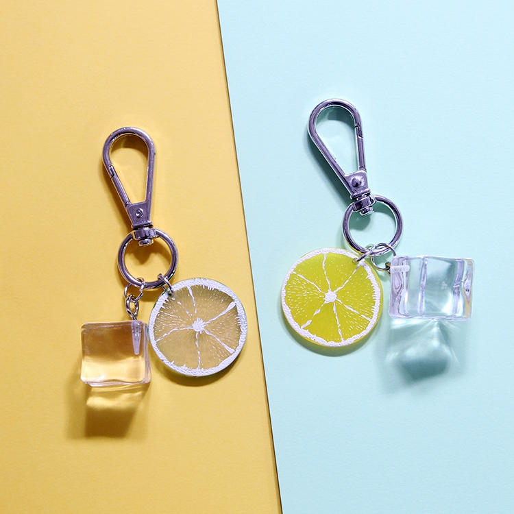 Summer Lemon Ice Cube Cartoon  Keychain For Women Trinket Metal Key Chains Ring Car Bag Pendent Charm Child Toys D256