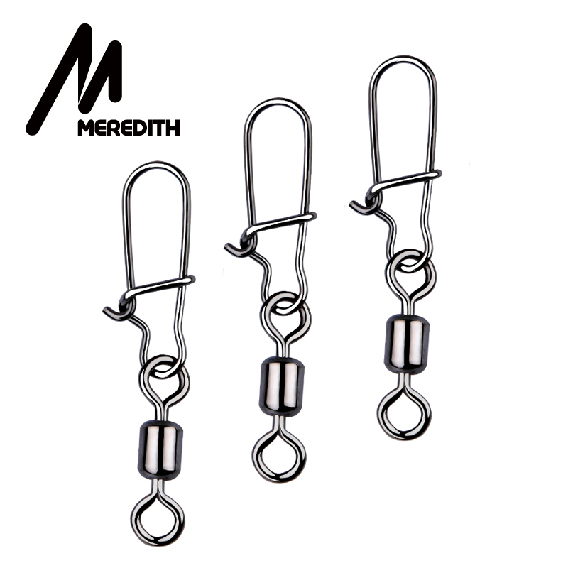 MEREDITH Fishing Connector 50PCS/Lot 2# 4# 6# 8# 10# Pin Bearing Rolling Swivel Stainless Steel With Snap Fishhook Lure Tackle