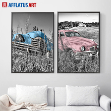 Vintage Car Landscape Wall Art Canvas Painting Nordic Posters And Prints Pictures For Living Room Bedroom Pop Decor