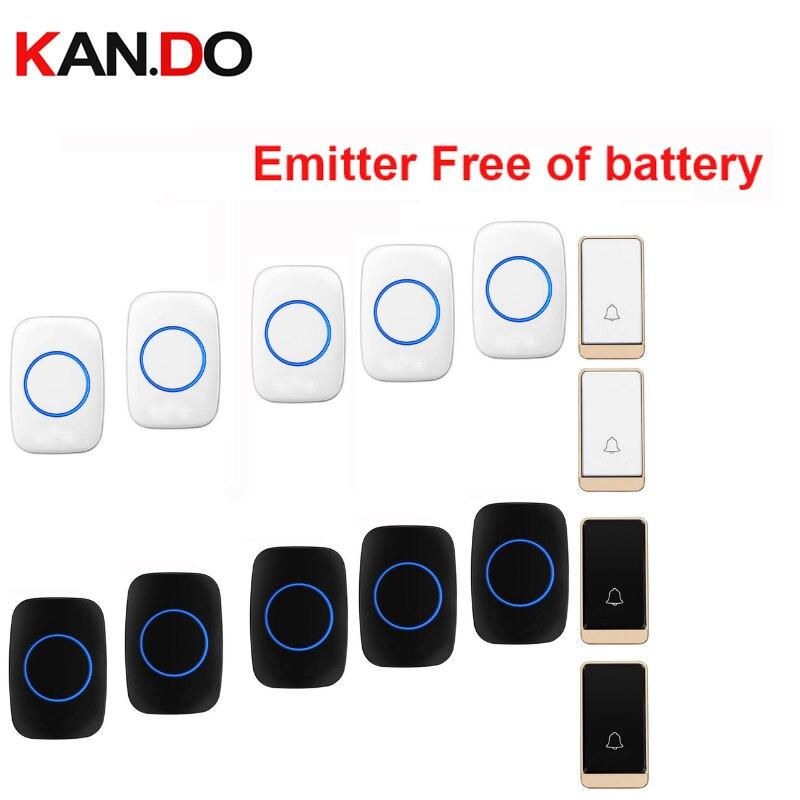 HOT sans fil porte cloche set 2 push 5 anneaux sans batterie sonnette sans fil ip44 200 M travail porte carillon porte anneau 110-240 V
