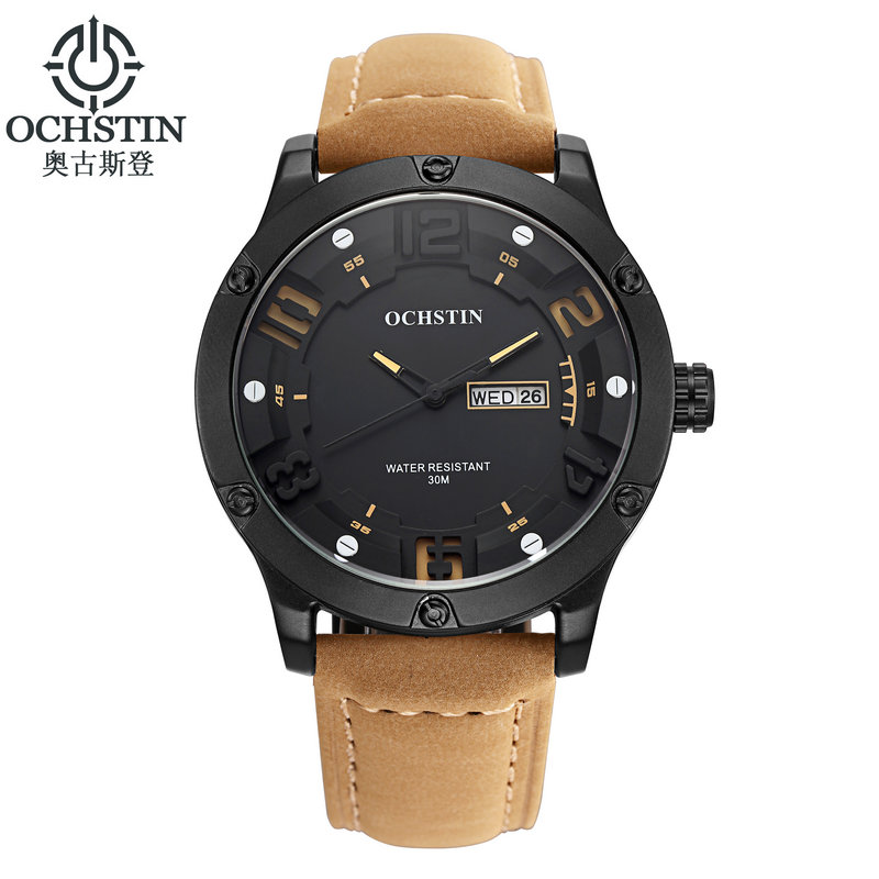 2016 Luxury Brand OCHSTIN Men Sports Watches Men s Quartz Hour Day Date Clock Casual Leather
