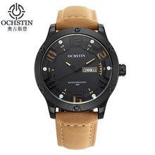 2016 Marque De Luxe OCHSTIN Hommes Sport Montres Hommes de Quartz Heure Jour Date Horloge Casual Bracelet En Cuir Armée Militaire Poignet montre