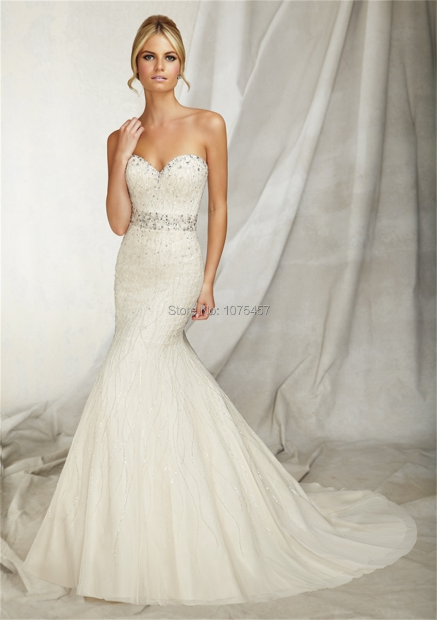 Mermaid Wedding Dress for Petite Women 2015 Sweetheart Crystal ...