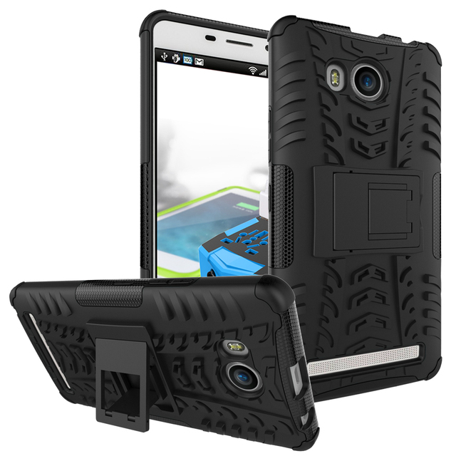 For Lenovo A7700 PC Silicone Dual Layer Anti Shock Kickstand Rugged Combo Armor 3D Case