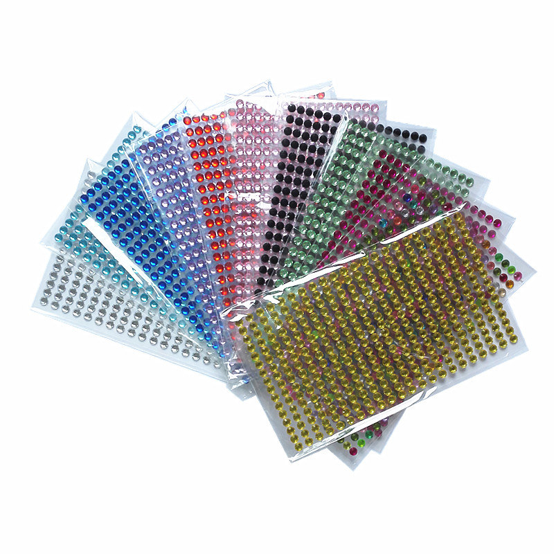 352Pcs /set 5mm Diy Decal 11 Colors Acrylic Crystal Emulation Diamond Bling Rhinestone Self Adhesive Wall Smooth Surface Sticker