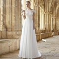 2017 Lasted Vestidos De Noiva Bateau Neck Cap Sleeve A- line floor length backless Wedding Dress 2016 Romantic Bride Dresses