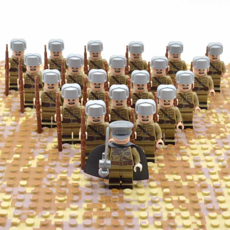 21pcs/set WW2 Blocks Soviet Toys Soldiers Army of Russia Troops Military Designer Building Constructor Bricks for Children