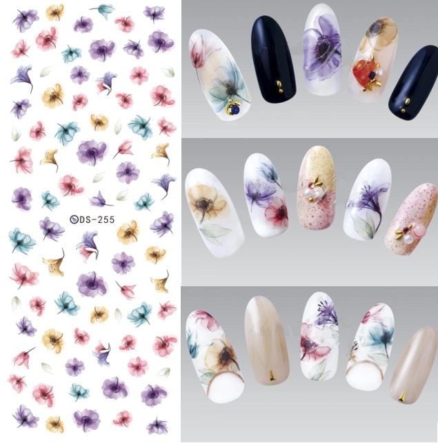 1 Sheet Cattie Girl Gradient Flower Nail Transfer Sticker Nail Art
