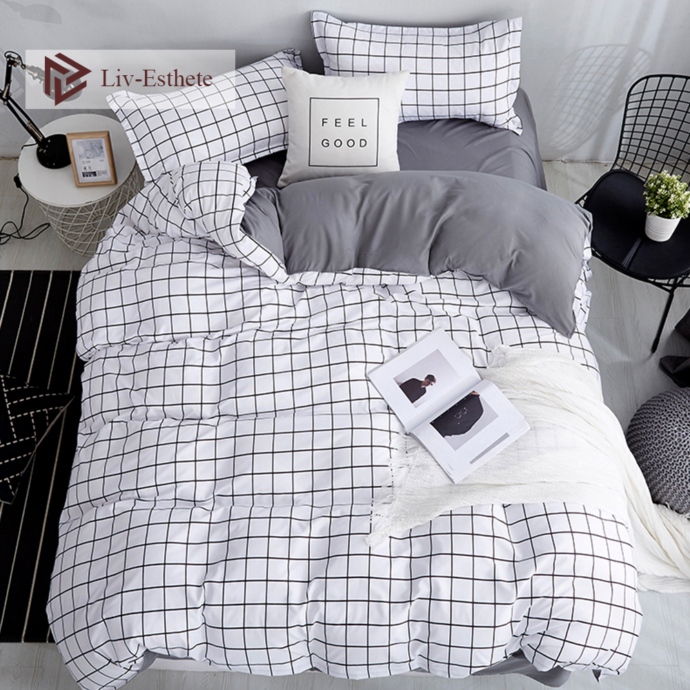 Pillowcase Bedding-Set Duvet-Cover Grid Flat-Sheet King Classic Liv-Esthete Black Double-Queen