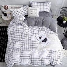Liv-Esthete Fashion Classic Black Grid Bedding Set Double Queen King Bed Linen Soft Duvet Cover Pillowcase Flat Sheet For Adult