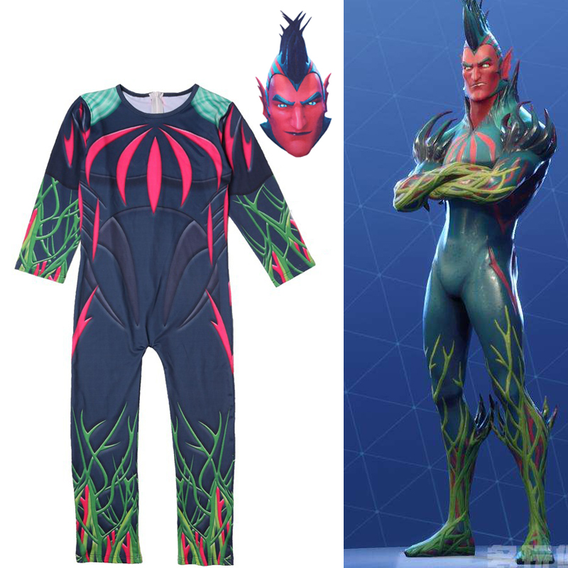 Battle Royale Flytrap Cosplay Jumpsuit Printing Children Halloween Party Costume Flying Trap Bodysuit