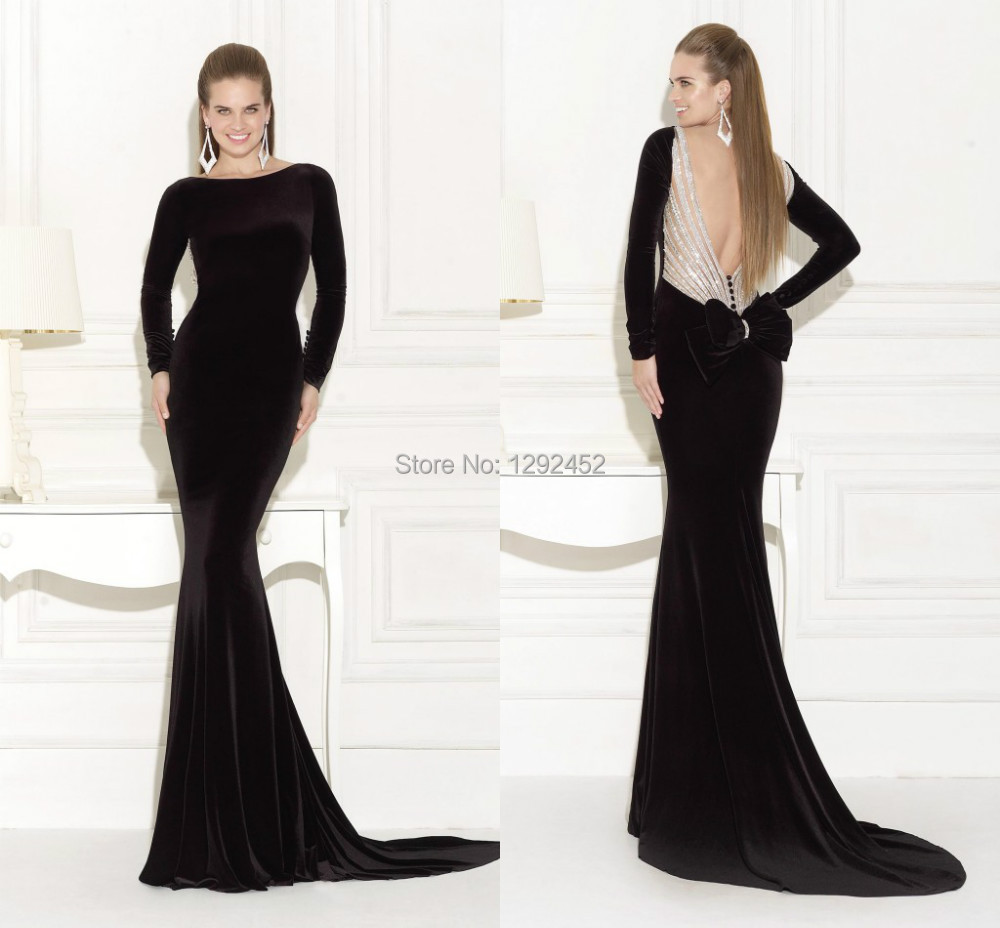 Design Black Prom Dress Vestidos De Noiva Sexy Long Sleeves Backless Mermaid Velvet Evening Pageant Gown Tarik Ediz 2015 - newdesignbridaldream store