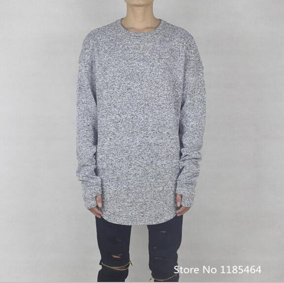 drop shoulder baggy yeezy season 2 scoop slub knit sweater men hip ...