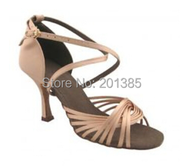 Wholesale Women Flesh Satin Ballroom LATIN Dance Shoes SALSA Dance Shoes Salsa Dancing Shoes ALL SIZE
