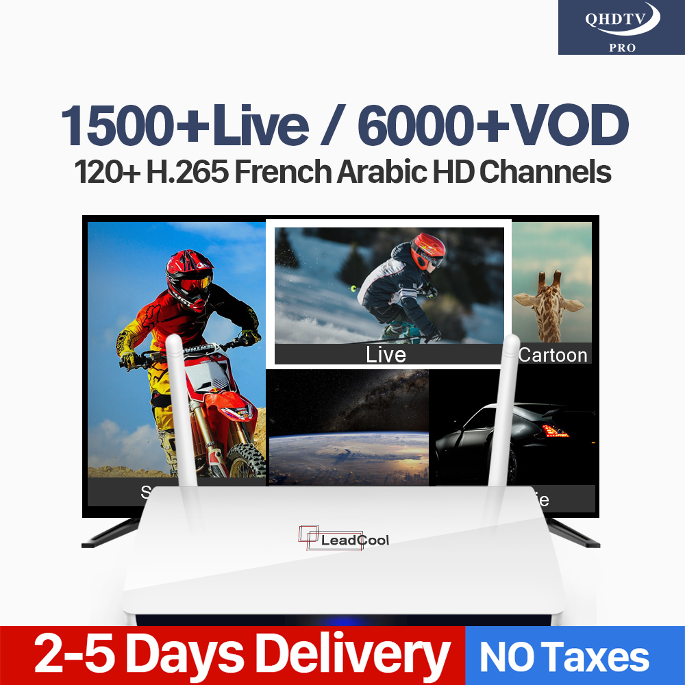 Code IPTV 1 Year French Arabic H.265 Decoder Channels Leadcool RK3229 Smart Android TV Box QHDTV Pro Spain India Algeria IP TV eachlink ix88 android 5 1 1 rk3229 tv box