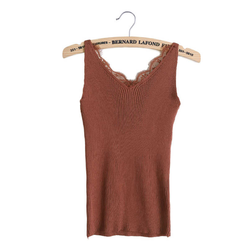 df0fd686d31 Sexy Knitting Camisoles Tank Women Plain Lace Tops Splicing Deep V-neck  Slim Sling Solid