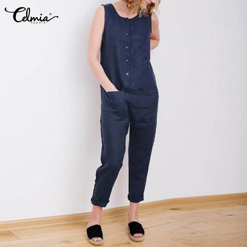 5XL Celmia Women Overalls 2019 Sleeveless Casual Button Solid Cotton Linen   Jumpsuits   Long Trouser with Pockets Plus Size Romper