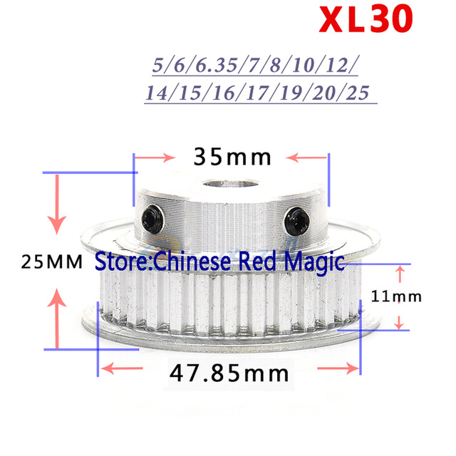 HTD3M Timing Pulley 20 teeth 4mm Bore for Stepper Motor 3D Printer 11mm Width