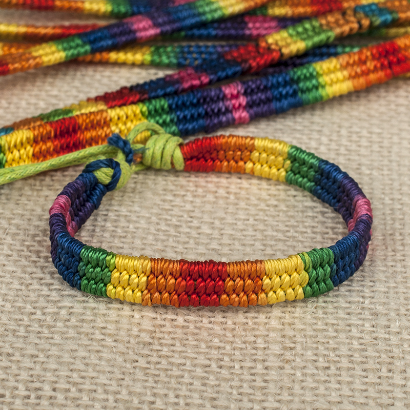 ABL0267 120 Thick Brazilian Nepal Rainbow Lesbian LGBT Pride Gay Pride Woven Braided Rope String Strand
